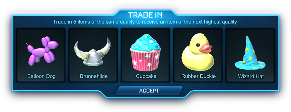 Trade-in panel screenshot - Trade in 5 items of the same quality to receive an item of the next highest quality